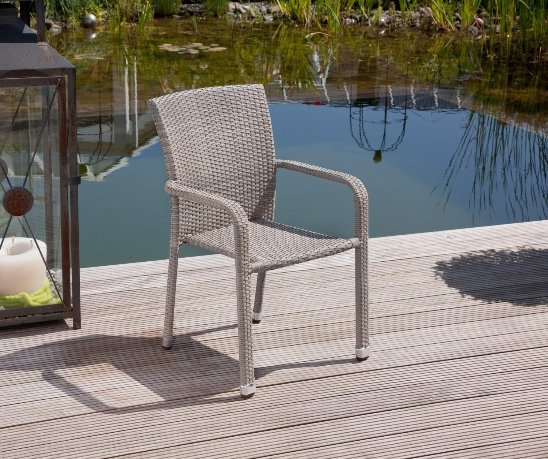 greemotion manila rattan gartenstuhl stapelsessel stapelstuhl grau bicolor 2 stk. Black Bedroom Furniture Sets. Home Design Ideas